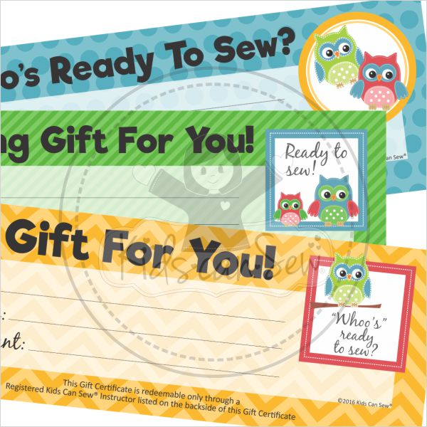 student gift certificates kids can sew