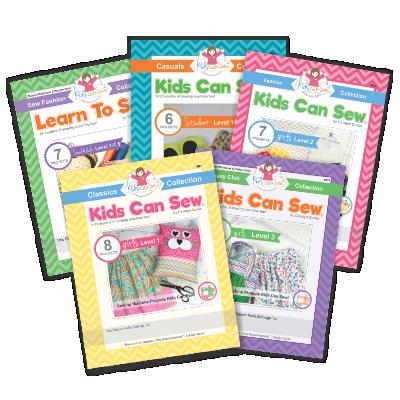 kids can sew sewing curriculum workbooks levels 1-3